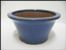 Bonsai Pot, Round, 14cm, Blue, Glazed
